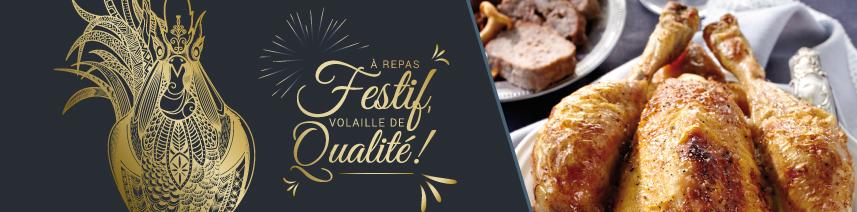 Menu avec volaille de qualité pour tablées de fin d'année