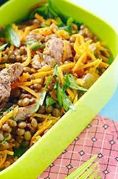 Recette de Salade lentilles-carottes à l'émincé de veau