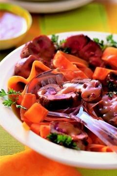Recette de Rognons de veau au miel et tagliatelles de carotte