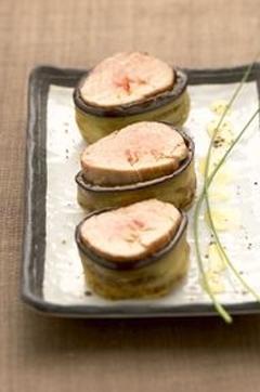 Recette de Filet mignon de porc, coeur de papaye, en robe d'aubergine et réduction d'agrumes
