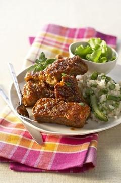 Recette de Travers de porc caramélisés sauce au gingembre et risotto aux amandes