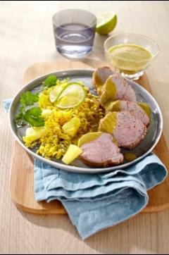 Recette de Médaillon de filet mignon au curry et à l'ananas