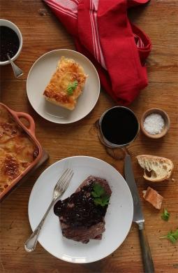 Recette de Bavette bistrot sauce échalote et gratin dauphinois